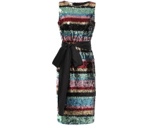 Belted Striped Sequined Woven Dress