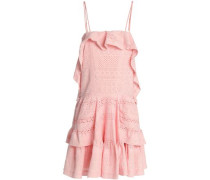 Ruffled Broderie Anglaise Cotton Mini Dress Pastel Pink