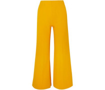 Woman Cropped Knitted Wide-leg Pants Marigold