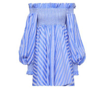 Kora Off-the-shoulder Striped Cotton Mini Dress Light Blue