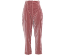 Cropped Velvet Tapered Pants Antique Rose