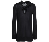 Ruffle-trimmed Stretch-knit Top Black
