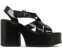 Glossed-leather Platform Sandals Black