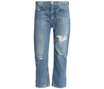 Boy Cropped Distressed Boyfriend Jeans Mid Denim