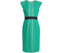 Macramé-paneled ponte dress