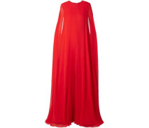 Cape-effect Silk-chiffon Jumpsuit Red Size 14