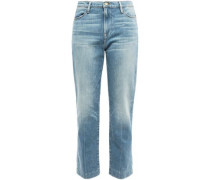 Cropped Faded High-rise Straight-leg Jeans Light Denim  4