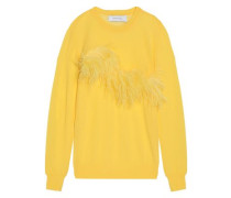 Feather-embellished Knitted Top Yellow