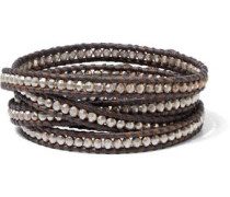 Sterling Silver And Leather Wrap Bracelet Chocolate Size --