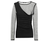 Tulle-paneled Ruched Stretch-cotton Jersey Top Black