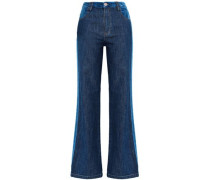 Two-tone paneled mid-rise flared jeans