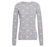 Intarsia Wool Sweater Gray