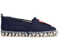Embellished Appliquéd Denim Espadrilles Dark Denim