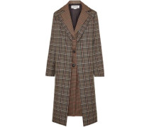 Woman Layered Checked Wool-blend Coat Brown