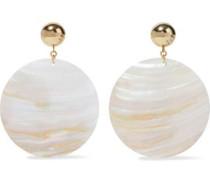 Gold-tone shell clip earrings
