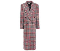 Double-breasted Checked Wool-blend Coat Red