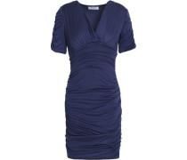 Cutout ruched stretch-jersey mini dress
