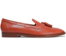 Tassel-trimmed Leather Loafers Tan