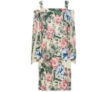 Cold-shoulder floral-print crepe dress