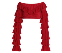Cropped ruffled stretch-knit top