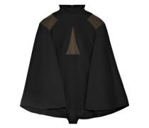Cape-effect paneled stretch-knit bodysuit