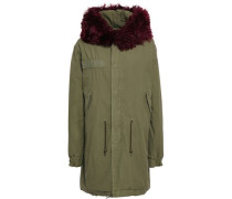 Shearling-trimmed Cotton Hooded Jacket Army Green