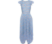 Sadie Pleated Floral-print Crepe De Chine And Chiffon Midi Dress Light Blue