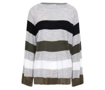 Striped Wool And Cashmere-blend Sweater Light Gray
