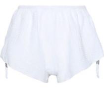 Lucia Tie-detailed Cotton-gauze Pajama Shorts White