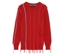 Distressed Striped Cotton-bouclé Sweater Red Size 1