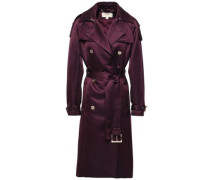 Double-breasted Duchesse Satin Trench Coat Plum