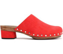 Studded suede mules