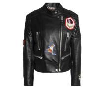 Embellished appliquéd leather biker jacket