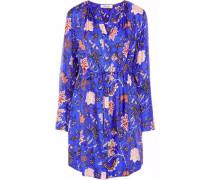 Floral-print silk-twill mini shirt dress