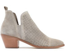 Belle Laser-cut Suede Ankle Boots Light Gray