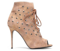 Lace-up studded suede ankle boots