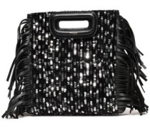 Sequined Fringed Leather And Velvet Clutch Black Size --