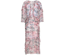 Ruffle-trimmed Printed Georgette Midi Dress Pastel Pink