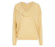 Ruffle-trimmed bead-embellished cashmere sweater