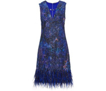 Lyra feather-trimmed tinsel and organza mini dress