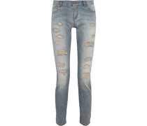 Woman Distressed Low-rise Skinny Jeans Mid Denim