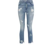 W4 Bleached Distressed High-rise Skinny Jeans Light Denim  4