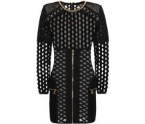 Chain-trimmed Open-knit Mini Dress Black