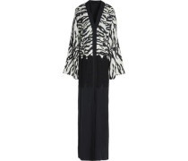 Lace-paneled zebra-print silk and cotton-blend gown