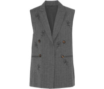 Bead-embellished pinstriped wool and linen-blend vest