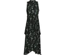 Tiered printed silk crepe de chine midi dress