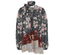 Woman Tie-neck Pleated Floral-print Georgette Blouse Charcoal