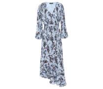 Woman Dylan Asymmetric Floral-print Crepe Midi Wrap Dress Sky Blue