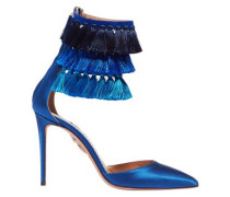 + Claudia Schiffer Loulou's Tasseled Satin Pumps Blue