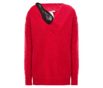 Split-back Lace-trimmed Mohair-blend Sweater Red